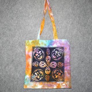 Stofftasche - Afrikanische Masken-Totenköpfe - Batik - Stoffbeutel