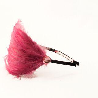 Haarreif mit Feder 12 - pink