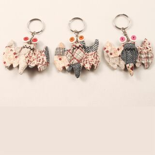 Tier-Anhänger mit Knopfaugen - Fledermaus 01 - Tierpüppchen
