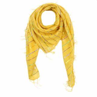 Sciarpa di cotone - lurex giallo multicolore 1 - foulard quadrato