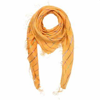 Sciarpa di cotone - giallo - lurex mandarino multicolor - foulard quadrato