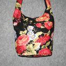 Stofftasche - Blumenmuster schwarz-rot - Stoffbeutel