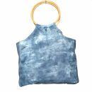 Stofftasche - Bambus Holz Griff - Tie dye-Batik - blau -...