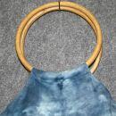 Stofftasche - Bambus Holz Griff - Tie dye-Batik - blau - Stoffbeutel
