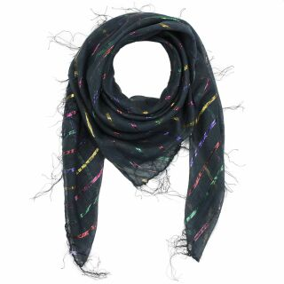 Cotton scarf - black Lurex multicolour 1 - squared kerchief