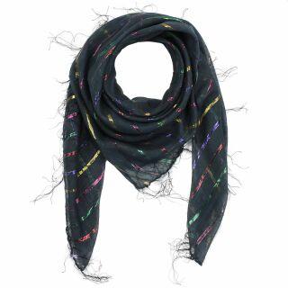 Sciarpa di cotone - Lurex nero multicolore 1 - foulard quadrato