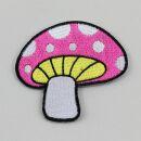 Aufnäher - Pilz - Fliegenpilz pink-weiß - Patch
