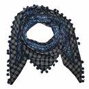 Dreiecktuch - Blumenmuster 3 - dunkelblau - weiß -...
