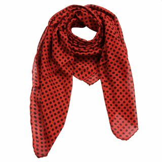 Cotton Scarf - Dots 0,5 cm red - black - squared kerchief