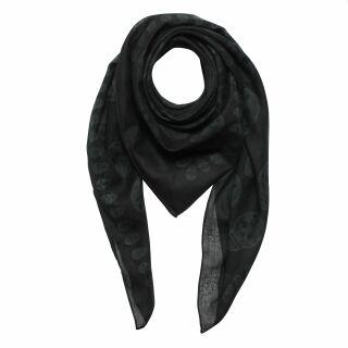 Sciarpa di cotone - teschi 1 nero - grigio - foulard quadrato