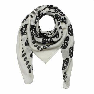 Sciarpa di cotone - teschi 1 bianco - nero - foulard quadrato