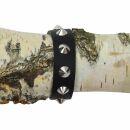 Lederarmband mit Spitznieten 1-reihig - schwarz - Armband aus Leder