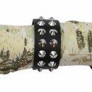 Brazalete cuero con 2-fila de remaches conicos - negra