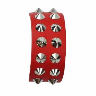 Braccialetto con borchie 2-file - rosso - Bracciale di pelle
