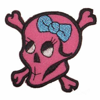 Aufnäher - Totenkopf mit Knochen und blauer Schleife - Patch