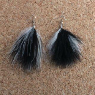 Federohrringe groß - zweifarbig - schwarz-weiß