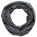 Cotton scarf - Stars 0,7 cm black - white Lurex...