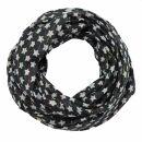 Cotton scarf - Stars 1,5 cm black - white Lurex...