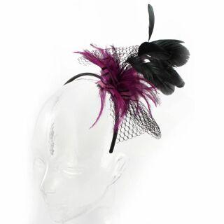 Haarreif mit Feder 13 - schwarz-lila