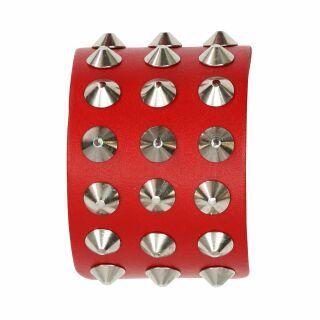 Braccialetto con borchie 3-file - rosso - Bracciale di pelle