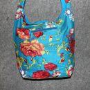 Stofftasche - Blumenmuster blau-rot - Stoffbeutel