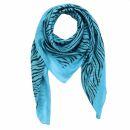 Cotton Scarf - Zebra turquoise - black - squared kerchief