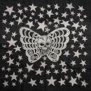 Baumwolltuch - Sterne mit Schmetterling schwarz -...