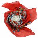 Baumwolltuch - Blumenmuster 2 rot - quadratisches Tuch