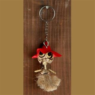 Keychain - The red witch - Wooden Doll