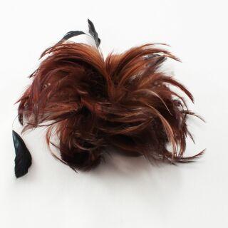 Haarklammer- Anstecker mit Feder - braun-schwarz