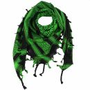 Kufiya - Keffiyeh - negro - verde-verde brillante -...