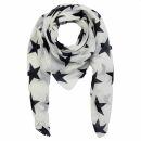Sciarpa di cotone - stella 8 cm bianco - nero - foulard...