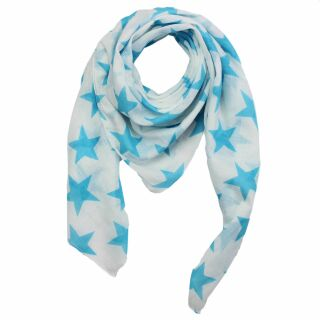 Cotton Scarf - Stars 8 cm white - blue-light - squared...