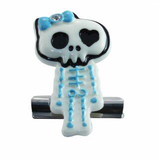 Klammerhalter - Clip - Skelett - hellblau