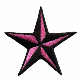 Parche - Estrella nàutica - negra-rosa