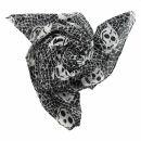 Cotton Scarf - Skulls 2 black - white - squared kerchief