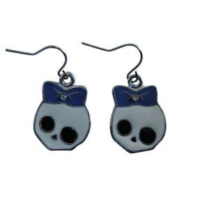 Ohrringe - Totenkopf mit Schleife - blau