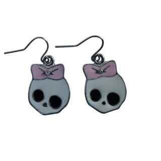 Ohrringe - Totenkopf mit Schleife - rosa