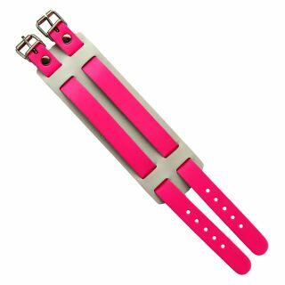 Leather-Bracelet 2-belts - neon-pink 3