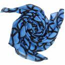 Baumwolltuch - Peace Muster 10 cm blau - schwarz -...