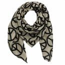 Baumwolltuch - Peace Muster 10 cm beige - schwarz -...