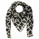 Baumwolltuch - Peace Muster 10 cm schwarz - beige -...
