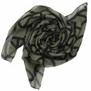 Baumwolltuch - Peace Muster 10 cm khaki - schwarz -...