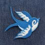 Patch - rondine - blu-bianco - testa a destra - toppa