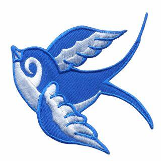 Patch - rondine - blu-bianco - testa a sinistra - toppa