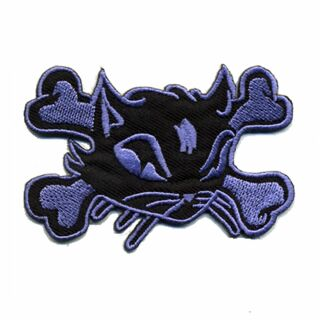 Patch - Cats Head with bones - black-lilac