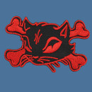 Patch - Cats Head with bones - black-red left