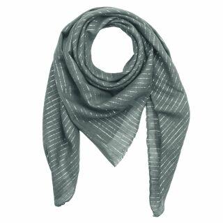 Cotton Scarf - grey - dark Lurex silver - squared kerchief