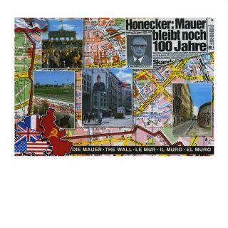 Postkarte - Die Mauer und Honecker