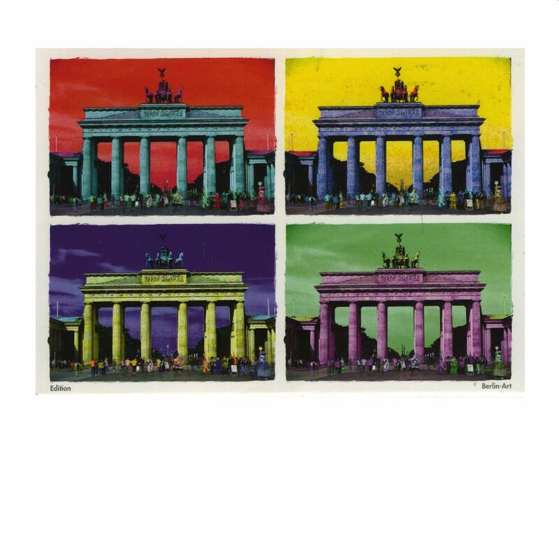 Postkarte - Berlin coloured - Brandenburger Tor